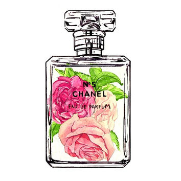 Chanel No 5 Vintage Style Art Print, Watercolor Illustration by Lady Gatsby