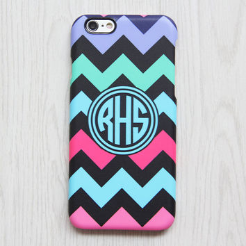 Color Chevron Monogram iPhone 6 Case iPhone 6 plus Case Custom iPhone 5S Case iPhone 5C Case Galaxy S6 S5 S4 Case Blue Pink Green Black 064