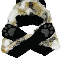 Faux Fur Animal Hat with Paws - Arctic Fox - Buy Online at Grindstore.com
