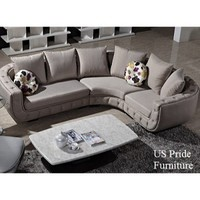 S0035 Contemporary Fabric Sectional in Beige Finish