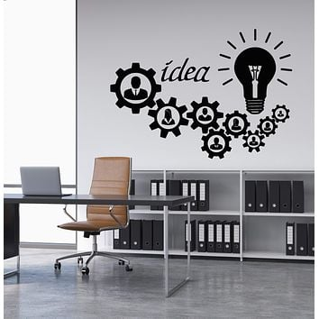 Vinyl Wall Decal Light Bulb Idea Decor For Office Worker Gears Stickers (2908ig)