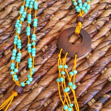 Long Turquoise and Yellow Beaded Tassel Necklace Women's Beaded Tassel Necklace Bohemian Beaded Long Earthy Turquoise Tassel Necklace