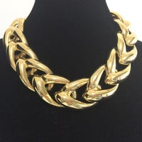 1980s Chunky Chain Choker Necklace Gold Plated Links Summer Style Classic Design Career Evening Jewelry 418
