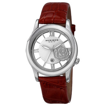 Akribos XXIV Women's Floral Japanese Quartz Leather Strap Watch | Overstock.com Shopping - The Best Deals on Akribos XXIV Women's Watches