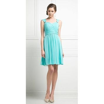 Cinderella Divine 3832 Mint Chiffon Thick Strap Sweetheart Neckline Short Cocktail Dress