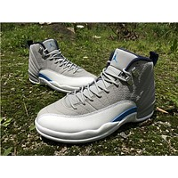"Air Jordan 12 ""Grey/Blue"" Basketball Shoes  36-40"