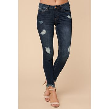 Silver Tongued Mid Rise Distressed Jeans (Dark Wash)