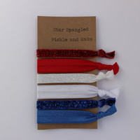 Star Spangled Hair ties 4th of July Elastic for Ponytail Holders and Bun Hairbands