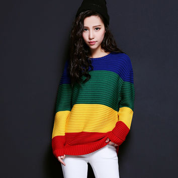 Block Long-Sleeve Knitted Sweater