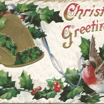 Antique Postcard Christmas Greetings Finch Bird Ring Bells