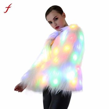Performing Costumes Women Christmas LED Fur Coat Stage Costumes Nightclub Outwear Dancer Jackets Kostuums Uitvoeren