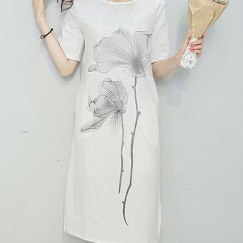 Streetstyle  Casual Round Neck Printed Cotton/Linen Shift Dress With Short Sleeve