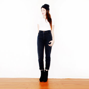 90s BLACK Skinny JEANS // 90s pants, 90s jeans, BONGO jeans, high waist jeans, black jeans, 90s grunge 90s clothing, 80s jeans // 26 x 29