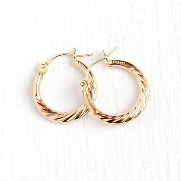 Estate Gold Hoops - Modern 14k Yellow Gold Earrings - Vintage Pierced Back Dangle Twisted Light Weight 585 Gold Jewelry Gift for Her