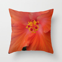 Scarlet Red Hibiscus Pillow, Flower Pillow, Photo Pillow Case, Beach House Pillows,Tropical Pillow, 16X16 Pillow Cover, 18X18 Canvas Throw