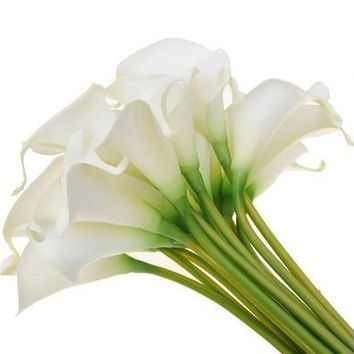 10pcs Artificial Fake ivory calla lilies Flowers Home Decoration (Color: Ivory) [7978671111]