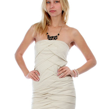 TAUPE LAYERED PANEL STRAPLESS DRESS