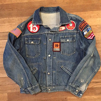 Patched Jean Jacket - Mens Small Medium or Womens Large XL | 80s 90s Grunge Faded Denim Jacket with Patches - Unisex Americana Biker Jacket