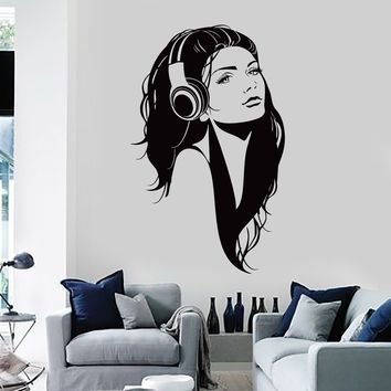 Wall Vinyl Decal Sexy Girl Music Headphones Head Phones Bedroom Decor Unique Gift z3967