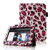 "FINTIE (Leopard Magenta) Slim Fit Folio Stand Leather Case for Amazon Kindle Fire 7"" Tablet (does not fit Kindle Fire HD)"