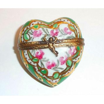 Heart Pink Green Cupid Limoges Box
