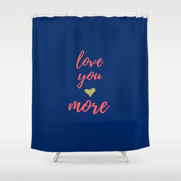 Love You More,  Purple Bathroom Decor, Custom Shower Curtain, Gold Home Decor, Love Sayings, Kids Bathroom Accessories, Childrens Bath Gifts