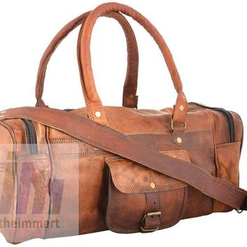 IN-INDIA Ultra Light and Cute Pure Hunter Leather Small Duffel Bag - 16 Inches