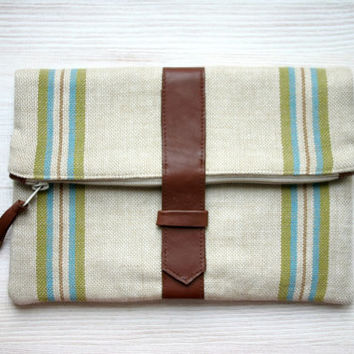 Men or Women stripes Fold over clutch Vintage Repurposed Fabric Green Retro Leather detail