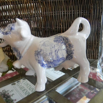 RARE Vintage English Blue Transferware Laughing Cow Bull Creamer Pitcher Ships Safe Harbour