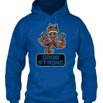 Groot Grow Strong Galaxy Gym Fitness Mashup   Mens Muscle T Shirt