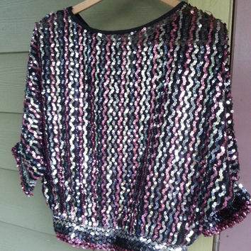 Vintage 70s Sheer Disco Sequin Batwing Top Pink Black Silver Size S