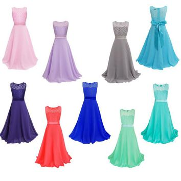 Ready to Ship Cheap Flower Girl Dresses 2016 Scoop A-line Ankle Length Lace Dresses Girls Formal Occasion Dresses Christmas