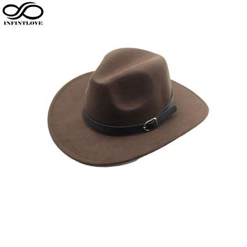 LUCKYLIANJI Men Women Unisex Country Cowboy Western Leather Band Hat Fedora Trilby Wool Felt Jazz Chapeu Cap (One Size:57cm)