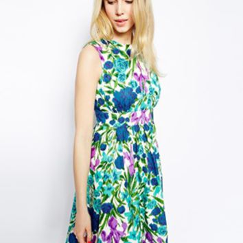 Emily & Fin Lucy Dress in Floral Print - Blue