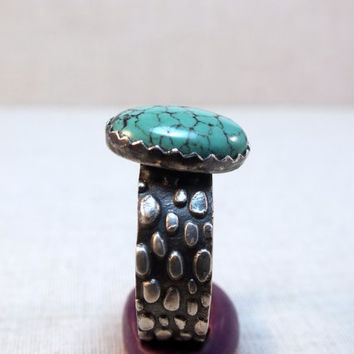 Sterling silver turquoise ring, wide band ring, size 8, mens ring, rustic silver, artisan ring, gemstone ring, textured ring, birthstone,