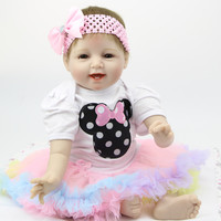22 Inch Silicone Smiling Reborn Babies Doll Handmade Newborn Girl Doll Looking Real Baby Reborns Kids Birthday Xmas Gift