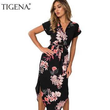 TIGENA 2018 Floral Print Long Bohemian Summer Dress Women Maxi Tunic  Boho Beach Party Dress And Sundress Robe Femme Black White