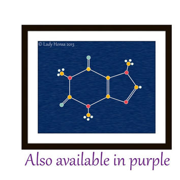 Caffeine molecule, science art poster, nerd art poster, blue print, purple print, dorm decor, chemistry art poster, biology,