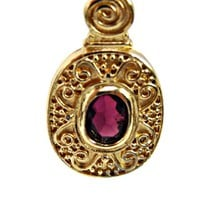 Deep Purple Amethyst Rhinestone Pendant Necklace with Gold Tone Cable Chain Etruscan Style
