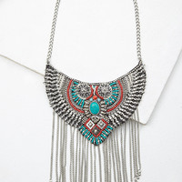 Fringed Beaded Bib Necklace