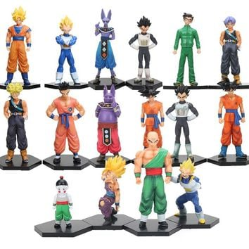 4pcs/set Dragon Ball Z Toys Action Figures Super Saiyan Son Goku Gohan Vegeta Trunks PVC Figure Dragonball Z GT Collection Model