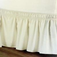 Luxurious Wrap Around Easy Fit Elastic Bed Skirt, White