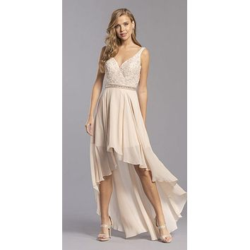 High and Low Bridesmaids Dress Appliqued Bodice Champagne