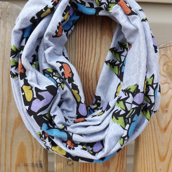 Heather Gray Bear Jamboree Trees Winter Mountains Infinity Scarf Cotton Jersey Knit Double Loop Cowl Women's Accessories