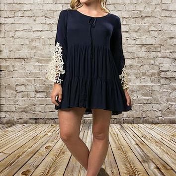 Crochet Bell Sleeve Babydoll Dress
