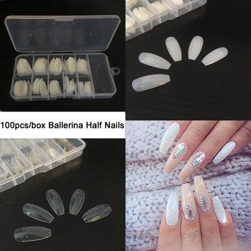 TKGOES 100PCS +Box Ballerina Half Nail Tips Natural/Clear Coffin False Nails ABS Artificial DIY False Fake UV Gel Nail Art Tips