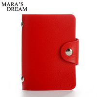 Mara's Dream 24 Bits Women Men Credit Card Holder PU Leather Hasp Unisex ID Holders Package Organizer Manager Free Shipping 2017