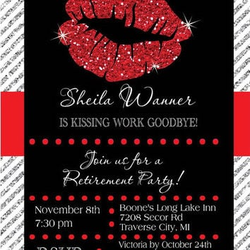 Retirement Invitation - Kissing Work Goodbye Retirement Party Invite Glitter Lips Invitations - Choose Colors