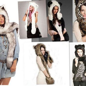 Women's winter Warm cartoon animal caps hats beanies for women men novelty cap with scarf gloves in party festival faux fur caps