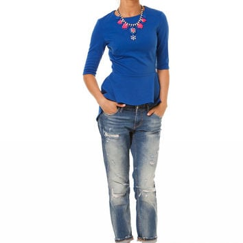Blue  Asymmetrical Top,Jersey Sweater Casual,Top Summer and Autumn.